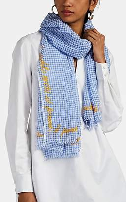 Faliero Sarti Women's Embroidered Checked Silk-Blend Scarf - Blue