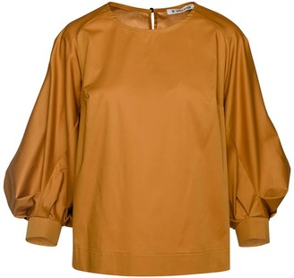 Conquista Mustard Top With Bishop Sleeves In Sustainable Fabric.