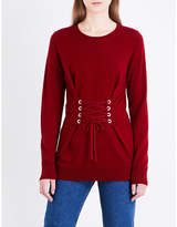 Sandro Lace-up front wool and cashmere-blend jumper