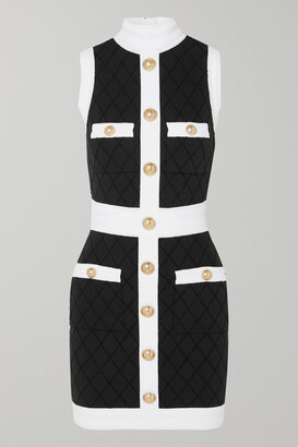 Balmain Two-tone Button-embellished Stretch-knit Mini Dress - Black