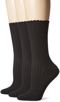 Hue Women's Scalloped Pointelle Sock(Pack of 3)