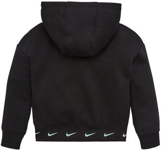 Nike Younger Girls Split Logo Overhead Hoodie - Black