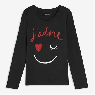 Joe Fresh Kid Girls' Graphic Tee, JF Black (Size XL)