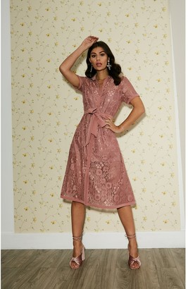 Paper Dolls Rhodes Rose Pink Lace Midi Shirt Dress