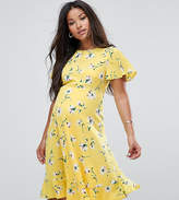 Queen Bee Maternity Floral Tea Dress With Ruffles