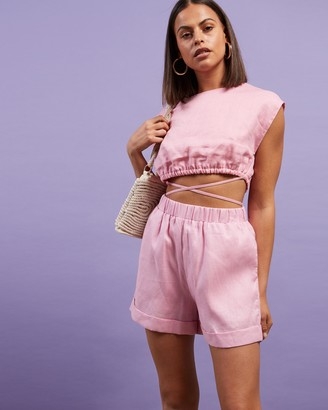 Dazie - Women's Pink High-Waisted - Little Italy Linen Shorts - Size 6 at The Iconic