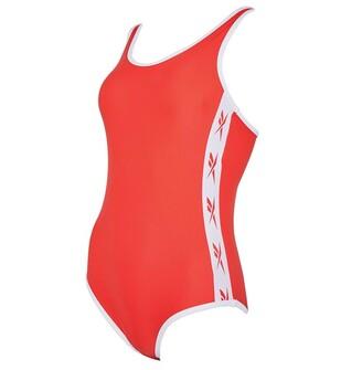 Reebok Womens Alyssa Side Logo One Piece Swimsuit Radiant Red