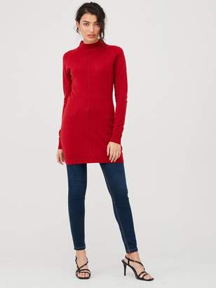 Very Supersoft Seam Detail Longline Jumper - Deep Red
