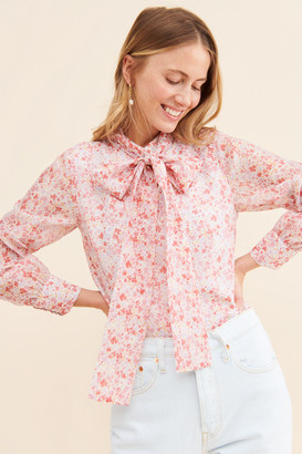 Glamorous Ditsy Floral Tie Neck Blouse