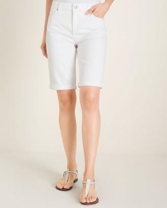 So Slimming No-Stain White Girlfriend Shorts - 9 Inch Inseam