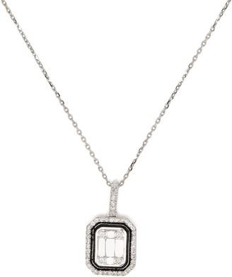 Monan 18kt White Gold Diamond Enamel Pendant Necklace