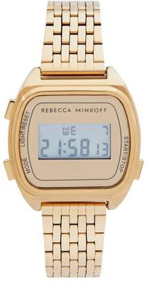 Rebecca Minkoff Digital Gold Tone Bracelet Watch, 34Mm