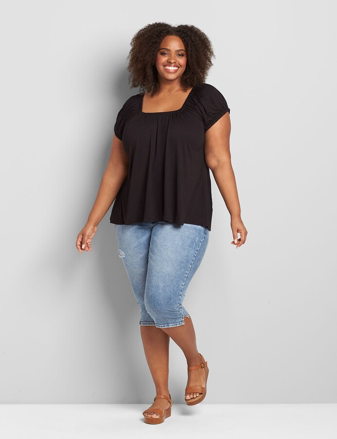 Thumbnail for your product : Lane Bryant Convertible Square-Neck Peasant Swing Tee