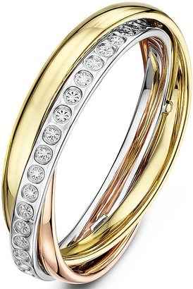 Love Gold 9ct White Rose and Yellow Gold 4mm Polished Illusion Diamond Band