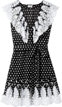 Miguelina Payton Crochet-trimmed Polka-dot Cotton-voile Mini Dress