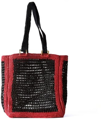 Maraina London Beatrice Black Raffia Beach Tote Bag
