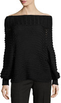 Calvin Klein Off-the-Shoulder Cotton Crochet Sweater, Black