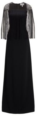 HUGO BOSS Satin Back Crepe Evening Gown With Macrame And Fringe Detailing - Black