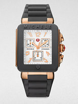 Michele Enamel Rose Goldtone IP Stainless Steel Chronograph Watch