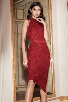 Lipsy Halter Neck Asymmetric Bodycon Dress - 6 - Red