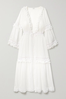 Charo Ruiz Ibiza Tamara Ruffled Crochet-trimmed Cotton-blend Voile Robe - White