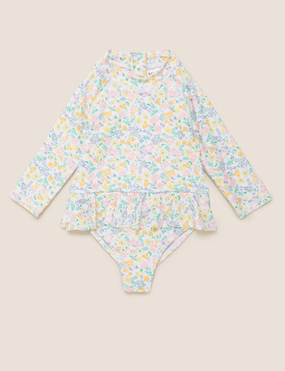 Marks and Spencer Floral Frill Waist Long Sleeve Swimsuit (0-3 Yrs)