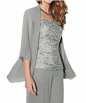 KA Beauty Women's Grey 3 PC Chiffon Mother of The Bride Pants Suit with Long Sleeves Appliques Lace Pleat Jacket for Weddinng UK16