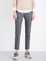 Brunello Cucinelli Chain-trimmed tapered high-rise virgin wool-blend trousers