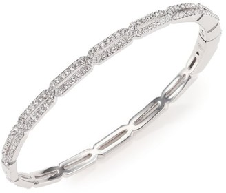 Adriana Orsini Rhodium-Plated & Cubic Zirconia Pave Long Hexagon Bangle Bracelet