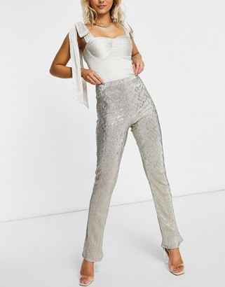 ASOS DESIGN jersey sparkle kick flare suit pants in silver