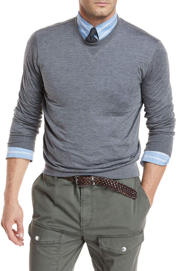 Brunello Cucinelli Heathered Silk/Cotton Jersey Sweatshirt