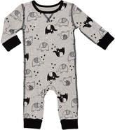 Baby Starters Gray & Black Elephant Waffle-Knit Playsuit - Infant