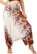 Lofbaz Women's Peacock Smocked Waist 2 in 1 Harem Pants Jumpsuit Burgundy S