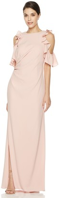 Social Graces Women's Cold Shoulder Ruffle Sleeve Stretch Maxi Dress Gown with Side Slit 2 Ballet Pink