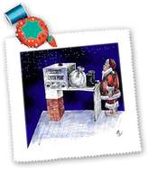 3dRose LLC qs_2827_1 Rich Diesslins Cartoon Days of Christmas TCDC - VAL - Santa Security Checkpoint - Quilt Squares