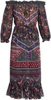 Saloni Elisa off-the-shoulder silk-chiffon dress