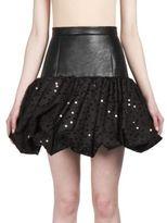 Saint Laurent Tulle Pouf-Hem Leather Skirt
