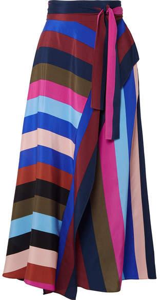 Diane von Furstenberg Striped Silk Crepe De Chine Wrap Midi Skirt - Purple