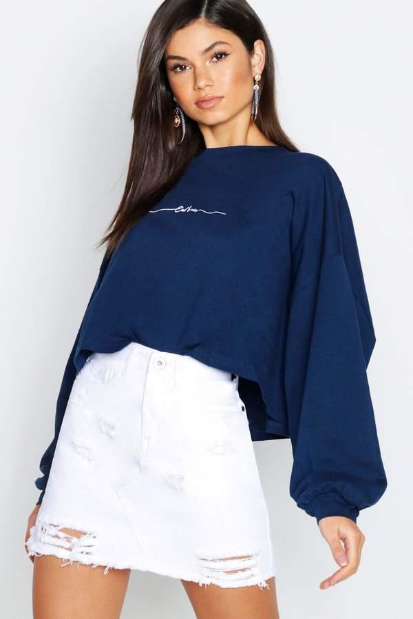 boohoo White Distressed Denim Mini Skirt