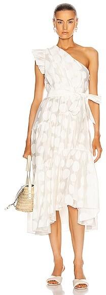 Ulla Johnson Ariane Dress in Polka Dots,White