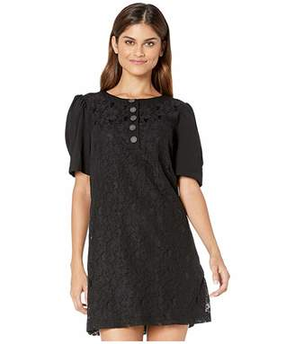 Kensie Etched Lace Short Sleeve Dress KS9K8397 (Black) Women's Dress