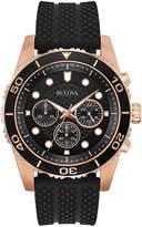 Bulova Men's Chronograph Sport Black Silicone Strap Watch 43mm