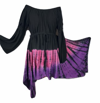 Doorwaytofashion Gothic Fairy Dress Tie Dye Tunic Asymmetric Black Pink Purple 12 14 16 18