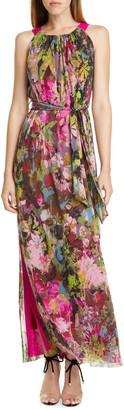 Fuzzi Floral Print Maxi Dress
