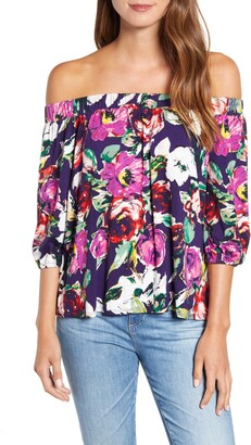 Loveappella Loveapella Floral Off the Shoulder Top