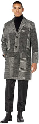NATIVE YOUTH Stanley Patchwork Wool Check Overcoat (Grey) Men's Clothing