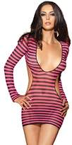 Leg Avenue Women's 2 Piece Striped Fishnet Mini Dress With G-String