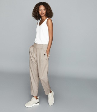 Reiss Marta - Front Pocket Tapered Trousers in Grey