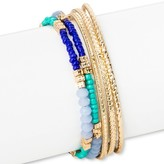 Women's Hard Bangle Coil Bracelet with Seedbead - Blue/Gold