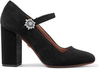 ALEXACHUNG Crystal-embellished Velvet Mary Jane Pumps